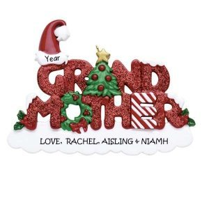 Grandmother Glittered Word Personalised Christmas Ornament