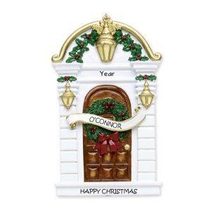 Brown Holly Door Personalised Christmas Ornament