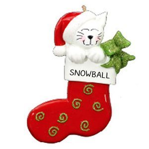 Cat Stocking Personalised Christmas Ornament