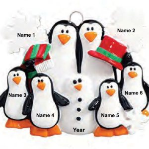 Penguins Making Snowman Family 6 Personalised Christmas Ornament