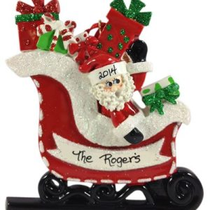 Santa In Glitter Sleigh Personalised Christmas Ornament