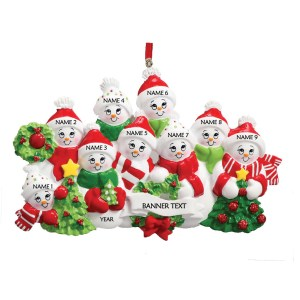 Snow Family 9 Personalised Christmas Ornament