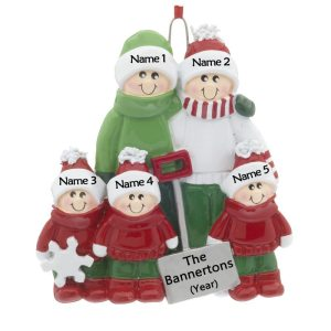 Snow Shovel Family 5 Personalised Christmas Ornament