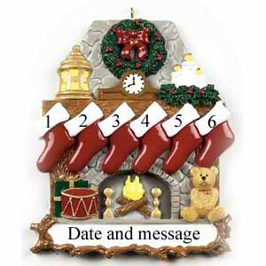 Christmas Fireplace With Stockings 6 Personalised Christmas Ornament