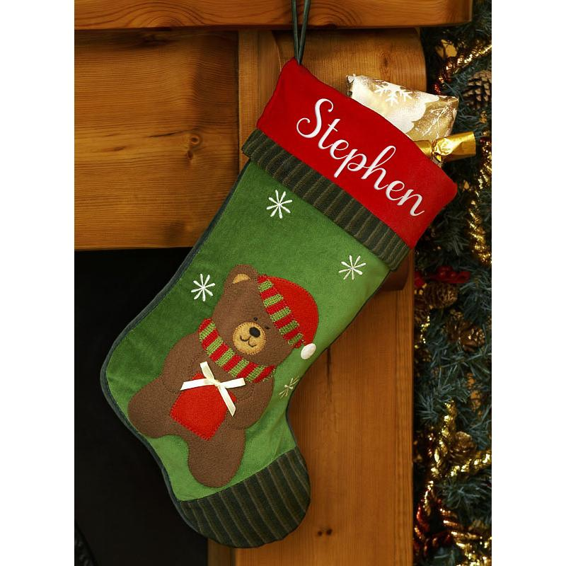 Personalised Christmas Stocking- Christmas Teddy
