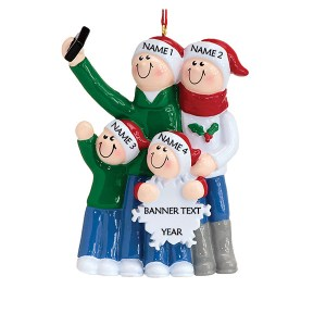 Selfie Family 4 Personalised Christmas Ornament
