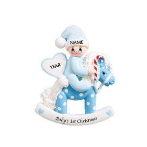 Rocking Pony Blue Personalised Christmas Ornament