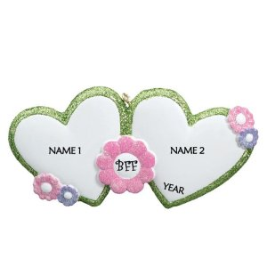 Best Friends Forever – BFF With Hearts Personalised Christmas Ornament