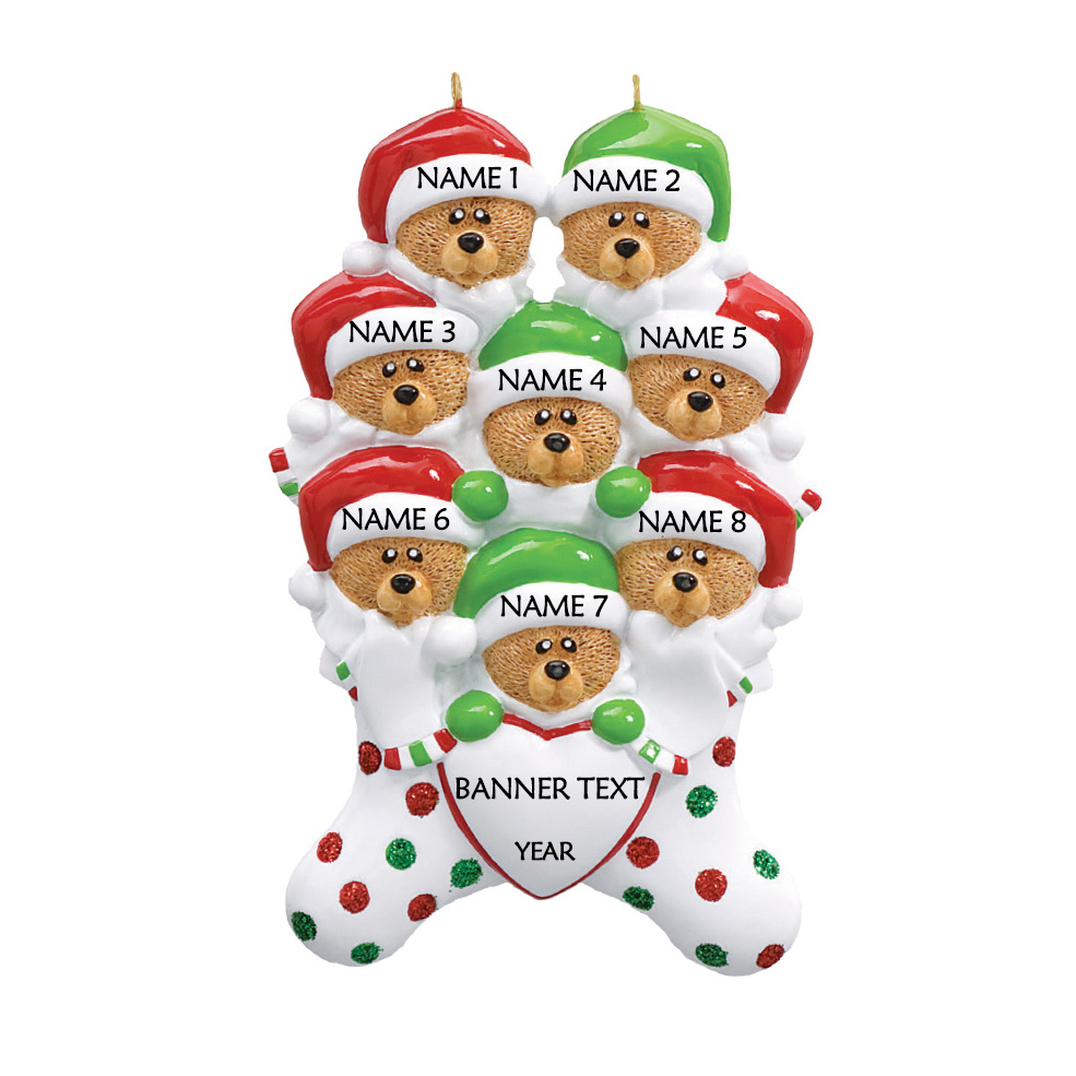 Bear Stockings Family 8 Personalised Christmas Ornament 1