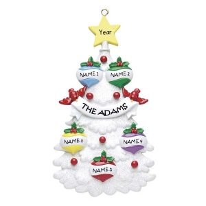 White Tree 5 Personalised Christmas Ornament