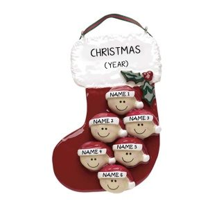 Personalised Christmas Stocking Ornament With Six Faces