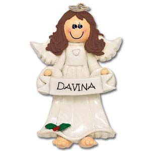 Angel Holding Banner Personalised Christmas Ornament 1