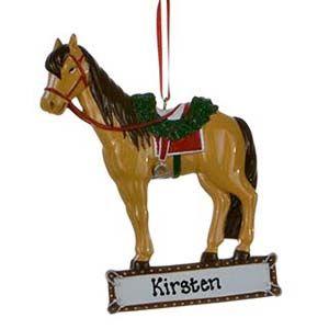 Saddled Horse Personalised Christmas Ornament 1