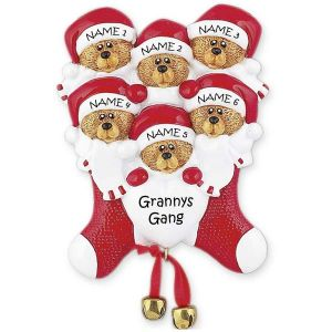 Six Bears In Stocking Ornament 1