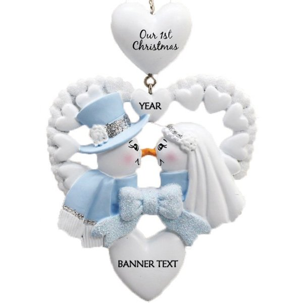 Snow Wedding Personalised Christmas Ornament 1