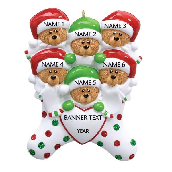 Bear Stockings Family 6 Personalised Christmas Ornament 1