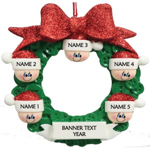 Button Wreath 5 Personalised Christmas Ornament