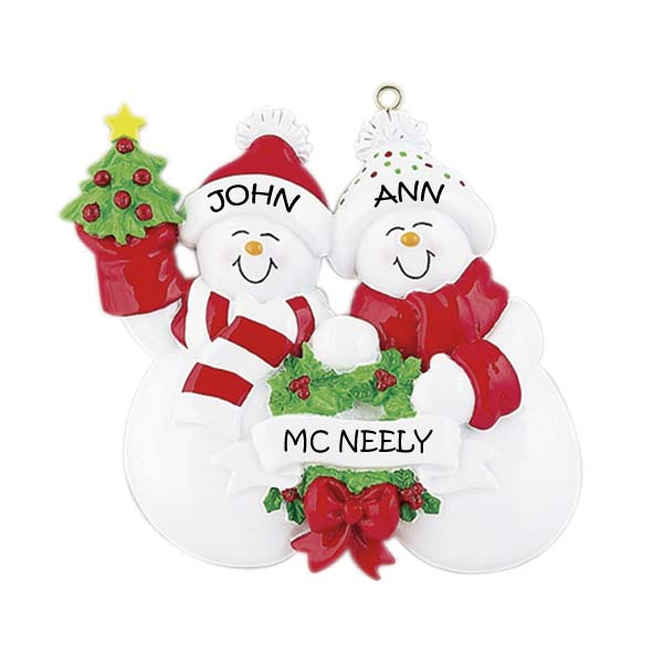 Snow Couple Family 2 Personalised Christmas Ornament 1
