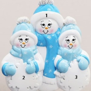 Single Snowman with 2 children Ornament