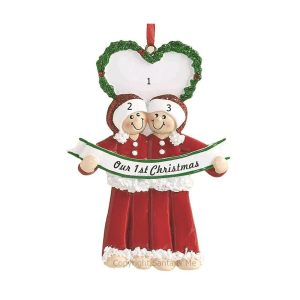 Our First Christmas Male Personalised Christmas Ornament
