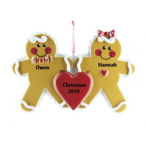 Gingerbread Family 2 Personalised Christmas Ornament