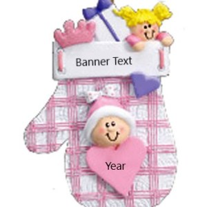 Baby Mitten Pink Personalised Christmas Ornament