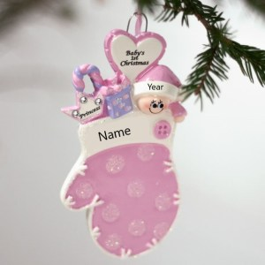 Baby Mitten Pink Glitter Personalised Christmas Ornament