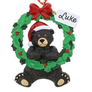 Black Bear Wreath 1 Personalised Christmas Ornament