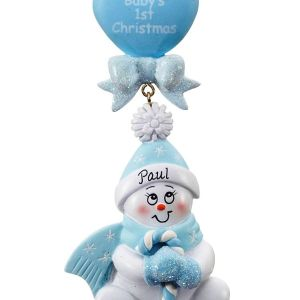 Candy Cane Baby Blue Personalised Christmas Decoration