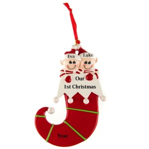 Elf Family 2 Personalised Christmas Ornament