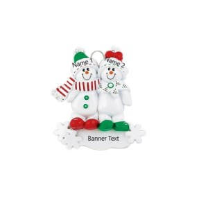 Snowmen sled family 2 Personalised Christmas Ornament