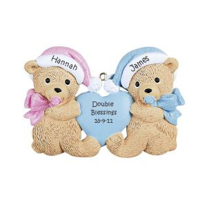 Twin Bears Boy/Girl Personalised Christmas Ornament