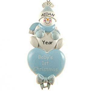 Baby's 1st Christmas Blue Heart Personalised Christmas Ornament.