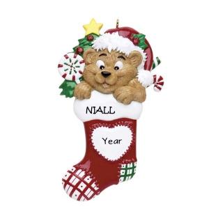 Bear Heart Stocking Personalised Christmas Ornament