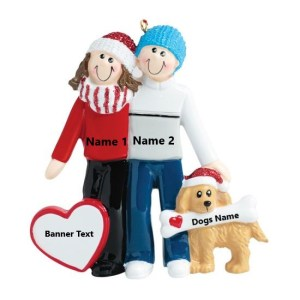 Couple w/dog Personalised Christmas Ornament