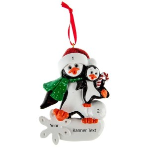 Penguin parents 1 personalised christmas ornament