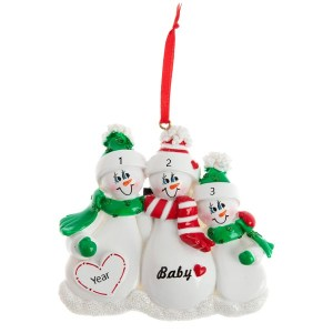 Expecting Family 3 Personalised Christmas Ornament