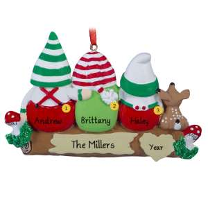 Idle Gnomes - 3 personalised Christmas Ornament