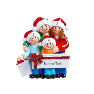 Gift Giving Family 4 Personalised Christmas Ornament