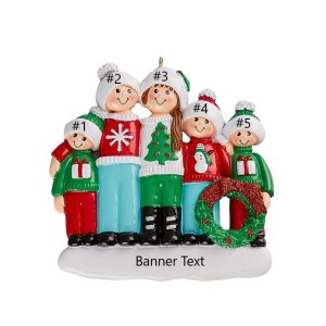 Ugly Sweater Family 5 Personalised Christmas Ornament