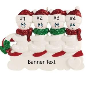 Snowmen Toboggan 4 Personalised Christmas Ornament
