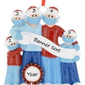 Mask Family 5 Personalised Christmas Ornament (PRE-ORDER)