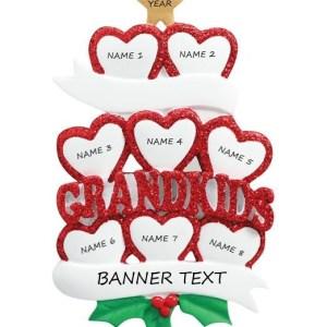Grandkid Hearts 8 Personalised Christmas Ornament