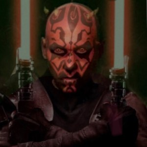 Darth Whistler face and upper body with arms crossed holding two red light sabers. Red skin, crown of yellow horns and yellow glowing eyes.