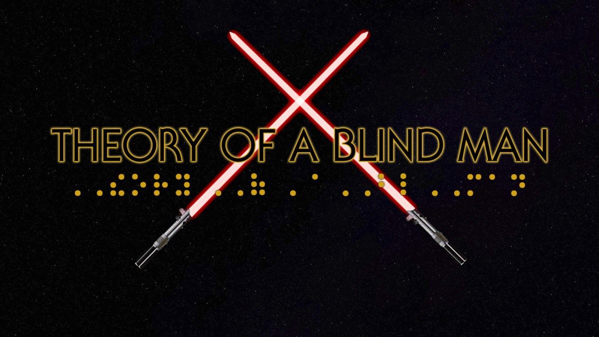 Golden yellow text that reads theory of a blind man in star wars font with crossed red light sabers behind text   on a starry background.