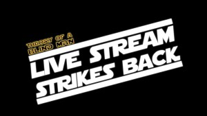 Angled bold white font that reads Live Stream Strikes Back with a small Theory Of A Blind Man logo above the word live.
