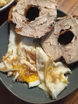 And dinner was some sunny side up eggs, a cinnamon-raisin bagel with cinnamon cream cheese,