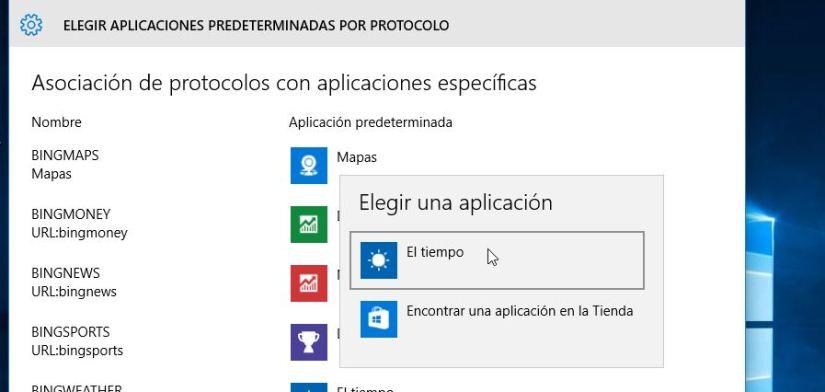 Segun el protocolo - administrar aplicaciones predeterminadas en Windows 10