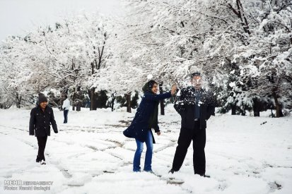 Iran, Kerman Province, Kerman City Winter Snow Snowball 05
