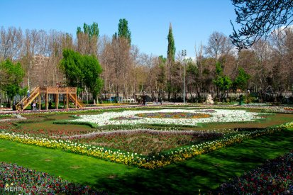 Flowerbed replica of a carpet made in Tabriz